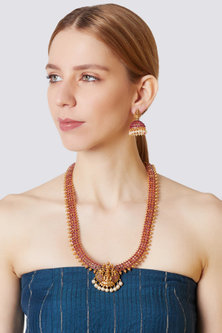 Gold Finish Pearl Long Necklace Set by VASTRAA Jewellery