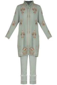 Ice blue Embroidered Short Jacket With Cropped Pants by Varsha Wadhwa