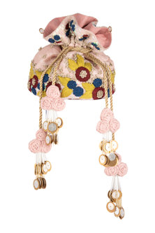 Pink Embroidered Potli Bag by Vareli Bafna Designs