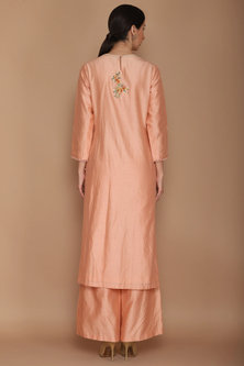 Sorbet Pink Chanderi Kurta Set by Varun Bahl