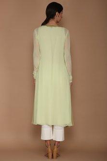 Pistachio Green Georgette Kurta Set by Varun Bahl