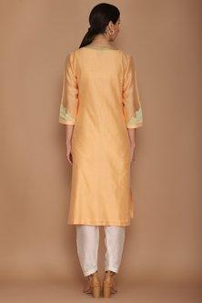 Light Orange Chanderi Kurta Set by Varun Bahl