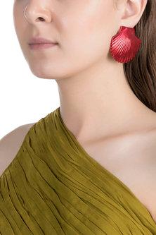 Gold Plated Metallic Red Shell Stud Earrings by Valliyan by Nitya Arora