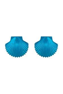Gold Plated Metallic Turquoise Shell Stud Earrings by Valliyan by Nitya Arora