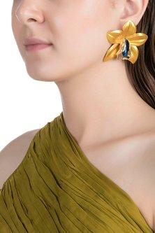 Gold Plated Metallic Yellow Orchid Stud Earrings by Valliyan by Nitya Arora
