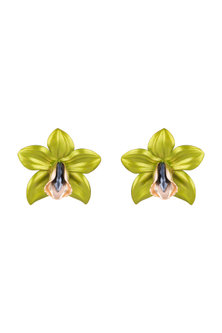 Gold Plated Metallic Lime Green Orchid Stud Earrings by Valliyan by Nitya Arora