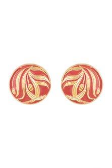 Gold Plated Red Hand Painted Meenakari Stud Earrings by Valliyan by Nitya Arora