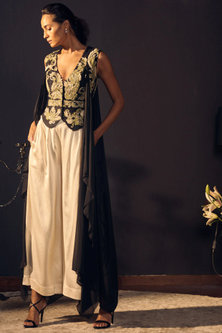 Black Embroidered Draped Jacket With Ivory Trousers by Varun Bahl