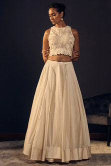 Ivory Embroidered Blouse With Skirt by Varun Bahl