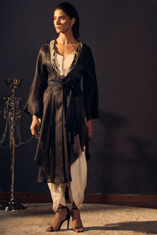 Black Embroidered Cape With Ivory Bustier & Dhoti Pants by Varun Bahl