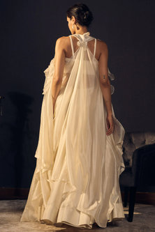 Ivory Embroidered Blouse With Skirt & Cape by Varun Bahl