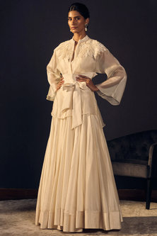 Ivory Embroidered Blouse With Skirt & Belt by Varun Bahl