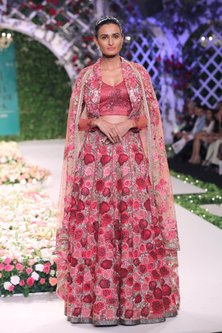 Rose Red Floral Beads and Sequins Embroidered Lehenga Set by Varun Bahl