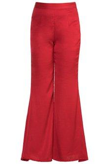 Red Flared Pants by Vidhi Wadhwani