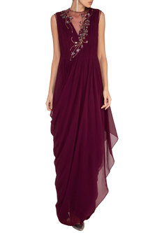Wine Embroidered Floral Gown by VIVEK PATEL