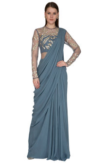Celeste Blue Embroidered Saree Gown by VIVEK PATEL