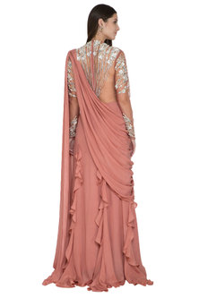 Pink Embroidered Saree Gown With Ruffles by VIVEK PATEL