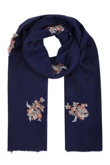 Navy blue floral embroidered stole by Vilasa