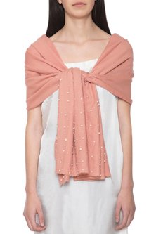Pink embroidered solid dyed stole by Vilasa