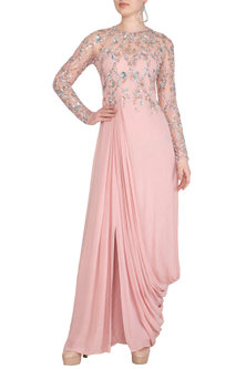 Pink Hand Embroidered Gown by VIVEK PATEL