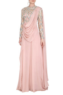 Pink Radial Wave Embroidered Saree Gown by VIVEK PATEL