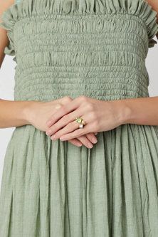 Gold Plated Peridot Ring by Varnika Arora