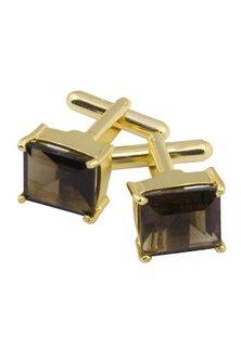 Gold Plated Princess Cut Smoky Quartz Statement Cufflinks by Varnika Arora