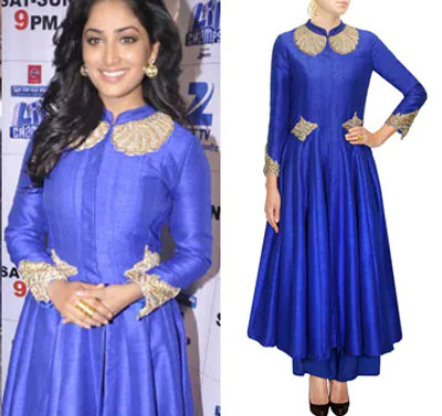 Royal Blue Zardozi Embroidered Anarkali Jacket and Palazzo Pants by Aharin India