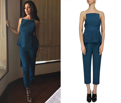 Diver Blue Strapless Jumpsuit by Ritika Bharwani