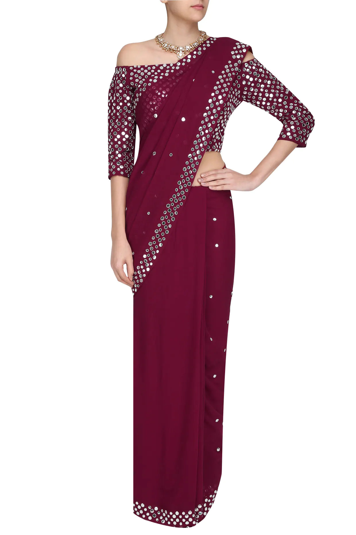 Maroon Hand Embroidered Saree with Off Shoulder Blouse