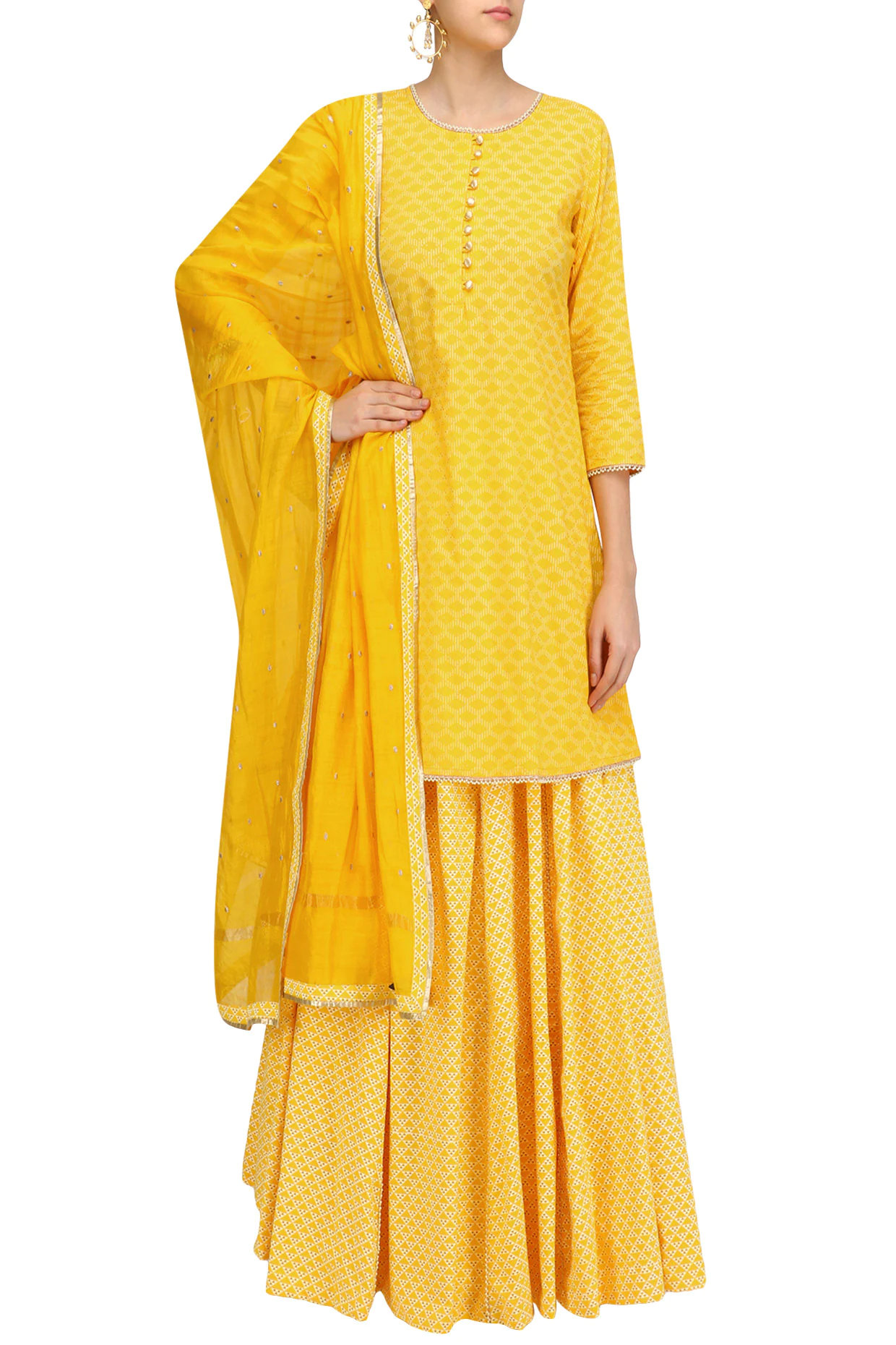 Yellow Pearl Embroidered Short Kurta and Skirt Set