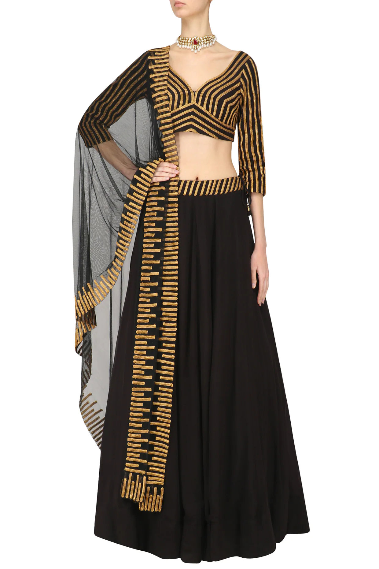 Black and Gold Lace Work Lehenga Set