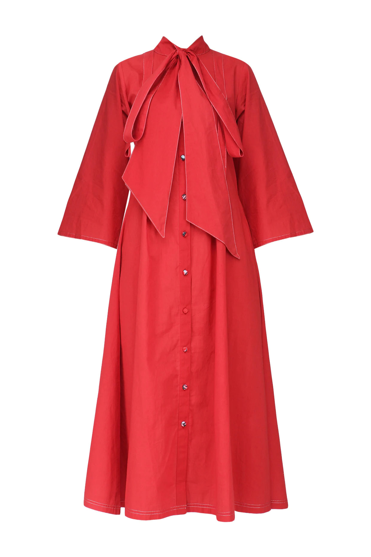 Red Tie-Up Flared Midi Dress by Surendri