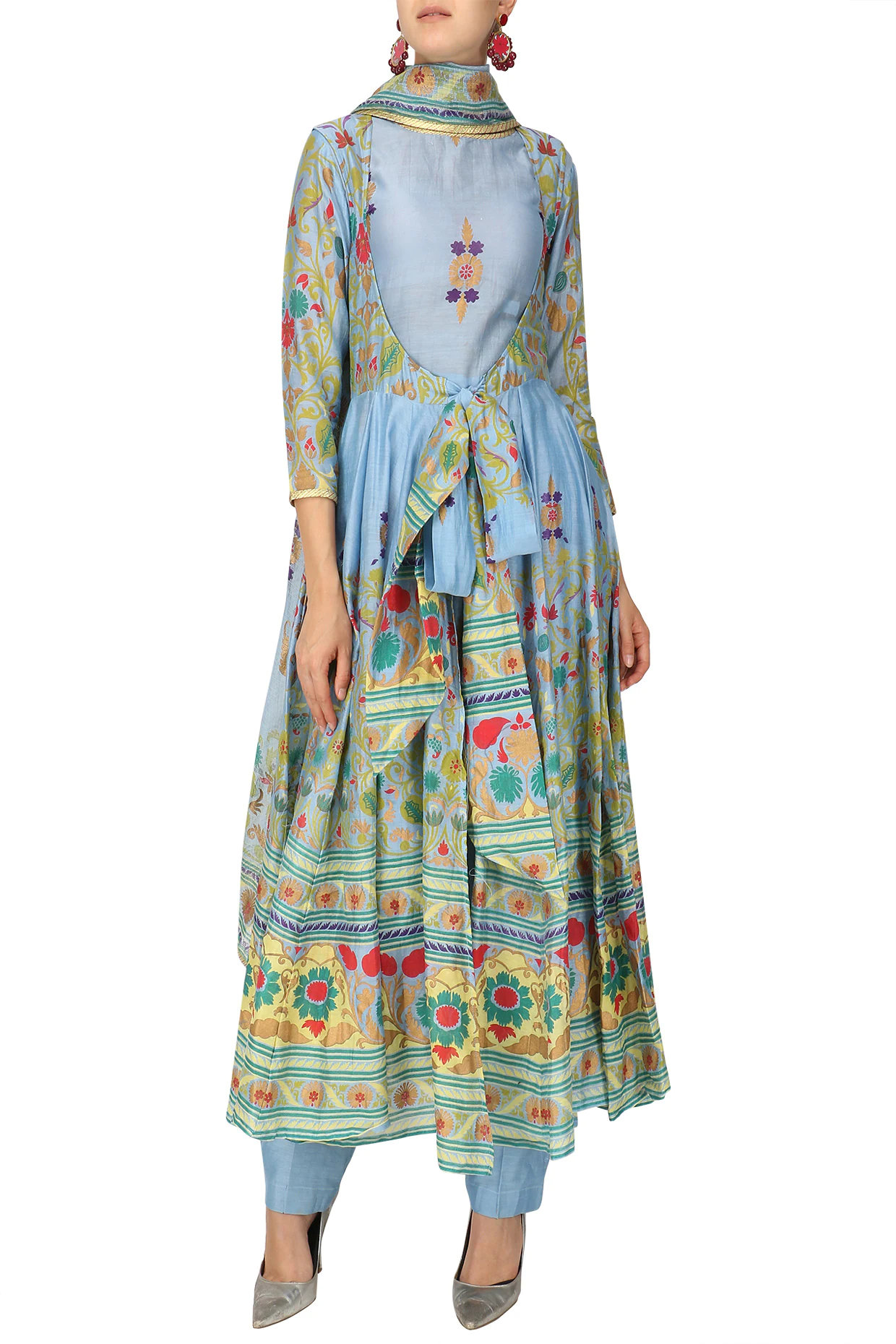 Powder Blue Hand Printed Anarkali Set by Surendri-Handpicked for You