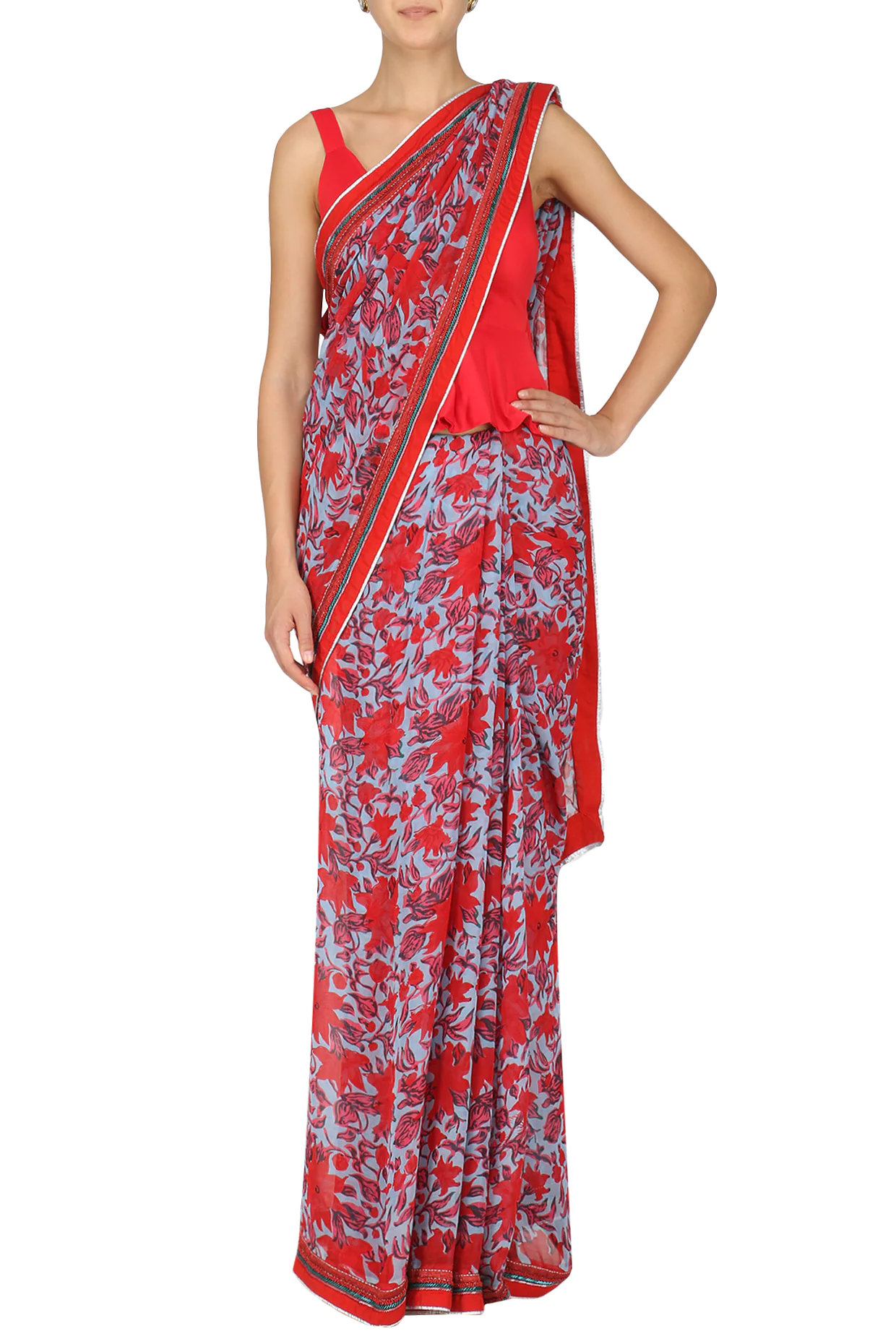 Red and Blue Floral Printed Saree with Peplum Blouse