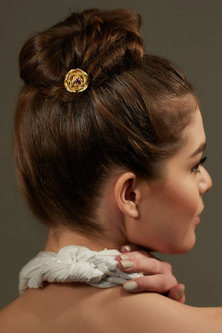 Gold Plated Rose Hair Stick With Swarovski by Zariin