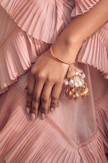 Rose Gold Finish Pearl Kalire Bangle by Zariin