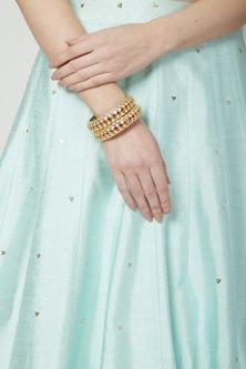 Gold Plated Kundan & Ruby Kadas by Zevar by Geeta