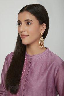 Gold Plated Ruby Drop Earrings by Zevar by Geeta