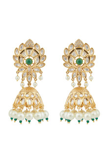 Gold Plated Handcrafted Jhumka Earrings by Zevar by Geeta