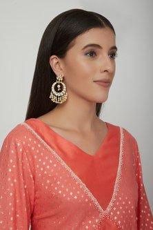 Gold Plated Statement Chandbali Earrings by Zevar by Geeta