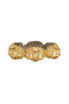 Gold Plated Kundan Openable Bracelet by Zevar by Geeta