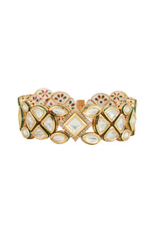 Gold Plated Openable Bracelet With Kundan by Zevar by Geeta