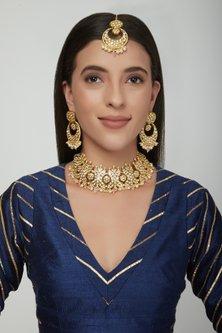 Gold Plated Kundan Choker Necklace Set With Maang Tikka by Zevar by Geeta
