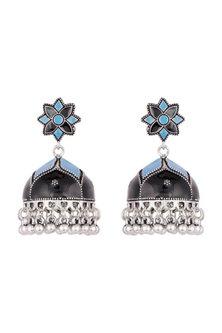 Silver Plated Black & Blue Meenakari Jhumka Earrings by Zerokaata