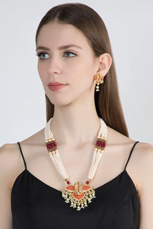 Gold Plated Beads & Pearls Necklace Set by Zerokaata