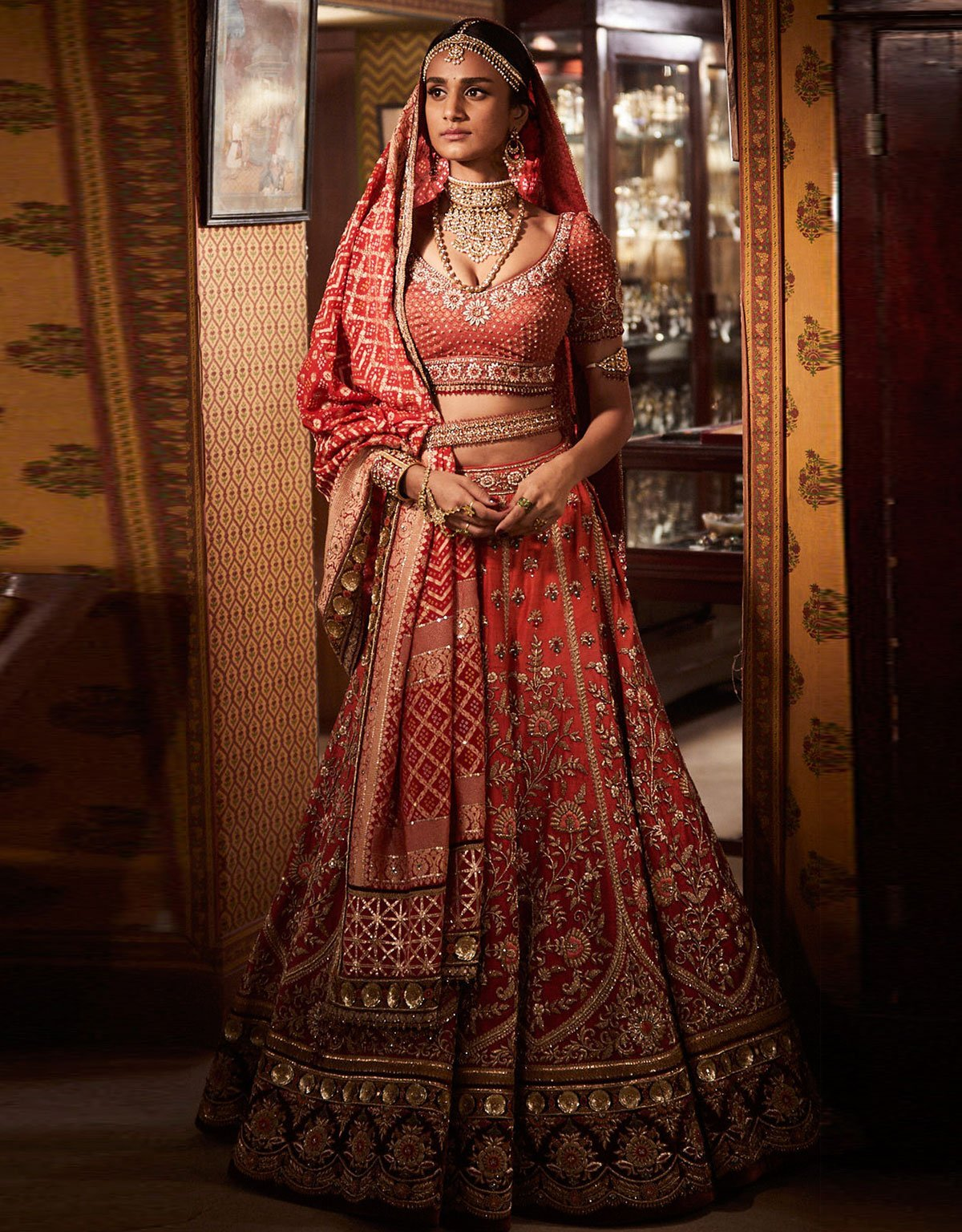 Bridal Lehenga In Raw Silk Highlighted With Zardozi Embroidery ...
