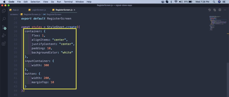 RegisterScreen.js