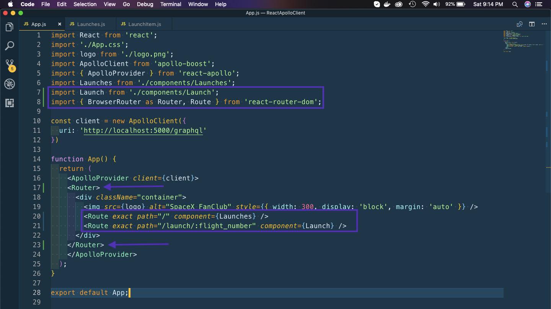 Routes in App.js