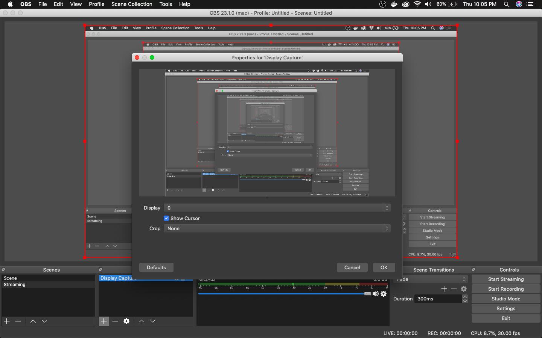 Display Capture pop-up